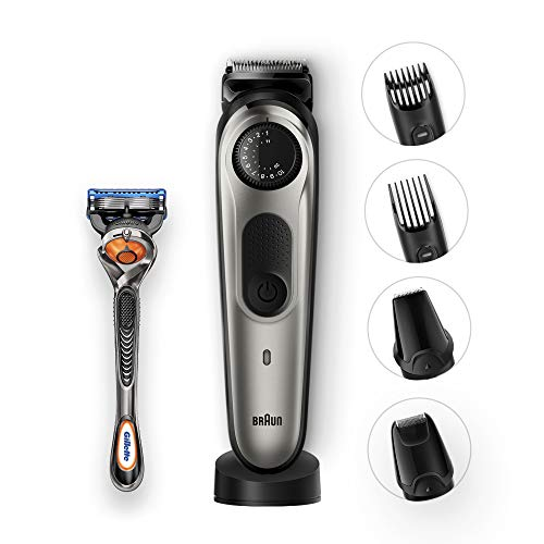 Braun Beard Trimmer & Hair Clipper, 39 Length Settings With Precision Dial, Detail Trimmer Foil Trimmer Attachment, Beardtrimmer Bt7040, with gillette Proglide Razor, Black/Grey