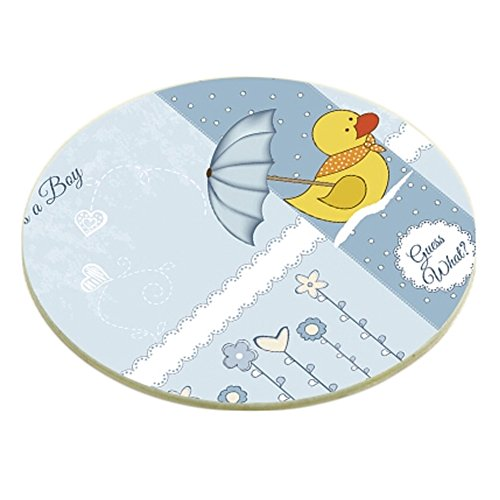 6PCS Round Cartoon Custom Coasters Cup Coaster Drink Coasters With Holder, Duck