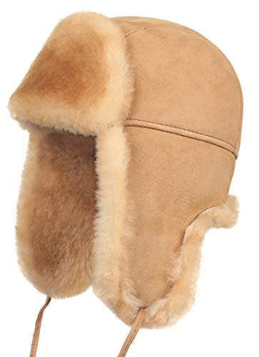 (Zavelio Shearling Sheepskin Leather Aviator Russian Ushanka Trapper Winter Fur Hat (Tan, XX-Large) )