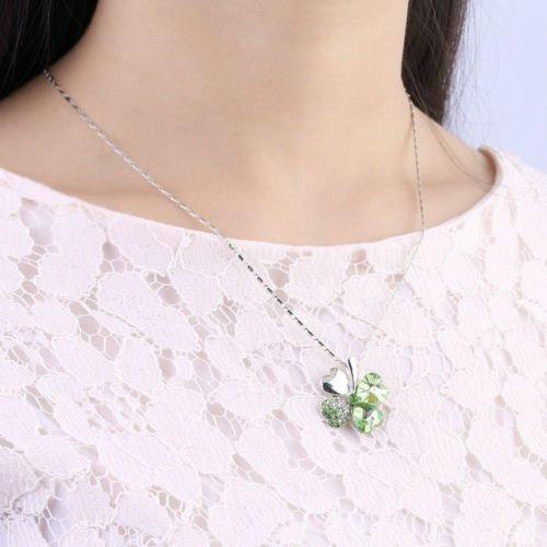 Hf Leaf - MoeWoods(TM) Sweet Charm Crystal Rhinestone Peach Heart Green Four Leaf Pendant Necklace Hf