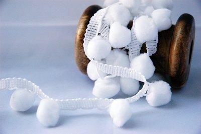 LARGE 15mm White Pom Pom Trim - 3 Metres - Pom Pom Ribbon Pom Pom Fringe
