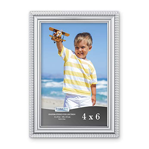 Icona Bay 4x6 Picture Frames (1 Pack, Silver) Picture Frame Set, Wall Mount or Table Top, Inspirations Collection (6 Photo Frame Silver)