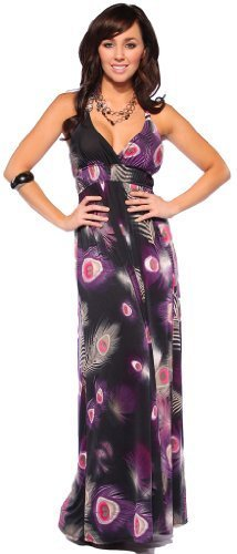 Multi Color Cheetah Print Halter Surplice Womens Designer Long Maxi Dress (Large, Black & Purple Bohemian Peacock)