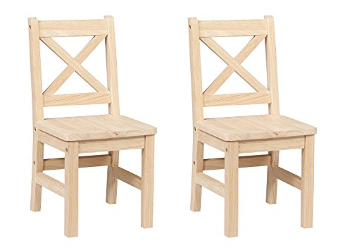 eHemco Solid Hard Wood X Back Kids Chair - Set of 2 (Unfinished) - Unfinished Wood Chairs