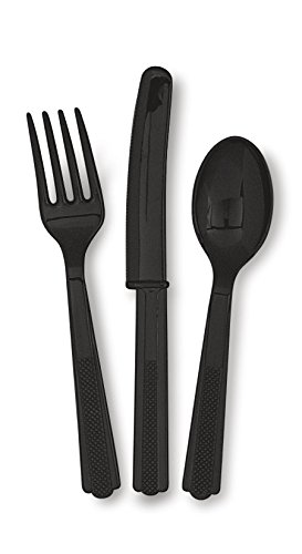 Black Plastic Silverware Set for 6 Guests (18pcs)