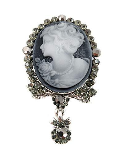 (Ahugehome Women Cameo Brooch Pin Shield Decor Fashion Jewelry Box Gifting (B Cameo Victorian Sliver))