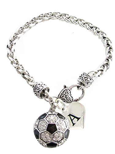 Holly Road Custom Crystal Soccer Ball Silver Bracelet Jewelry Choose Your Initial All 26 -
