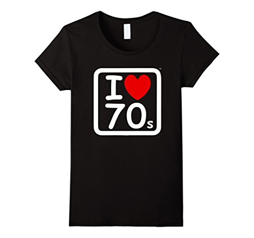 70s Themed Clothing (Womens 70's Theme T Shirt I Love the Seventies with Red Heart Small Black)