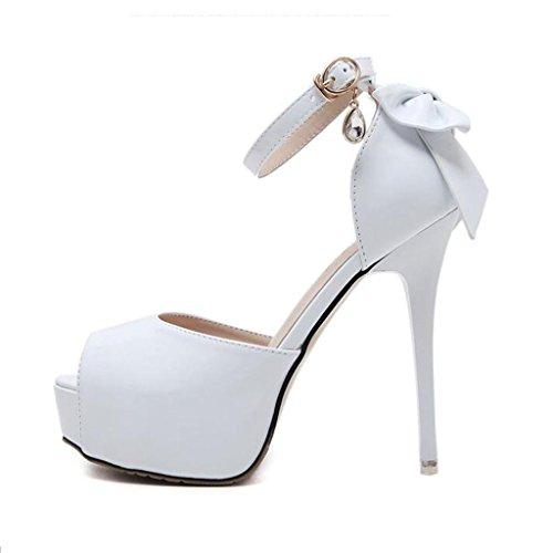 W&LM Mme Talons hauts Des sandales D'accord Bouche de poisson Des sandales Attacher Plateforme étanche Chaussure White