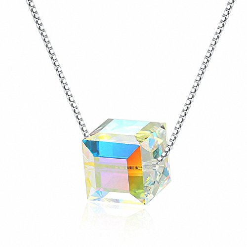 Kalapure 925 Sterling Silver Color Swarovski Crystal Cube Clavicle Necklace Box Chain 18