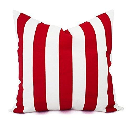 - Bright Red and White Throw Pillow Cover in Custom Sizes - Striped Decorative Pillow Sham - Crimson Red Pillow Cover - Lumbar Pillow Euro Sham