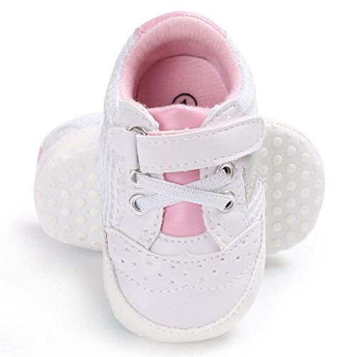 WeiYun Stars Baby Walkers Baby Shoes Sneakers Princess Soft Sole Shoes Toddler Casual Shoes (12Months, Pink) - Image 3