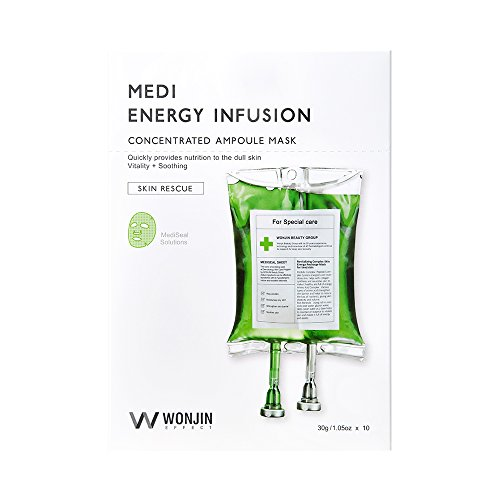 WONJIN EFFECT Medi Energy Infusion Mask (10sheets x 1.05 oz) with 36 Revitalizing Ingredients Antiageing: Skin Cell Growth Activation, Elasticity, Skin Balance, Moisture Korean Sheet Mask Skincare