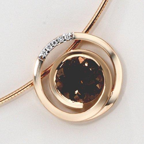 Bijoux pendentif de femmes en or rose avec quartz fumé et diamants Diamètre environ 16,9 mm