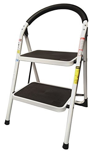 StepUp Heavy Duty Steel Reinforced Folding 2 Step Ladder Stool - 330 lbs Capacity Model: