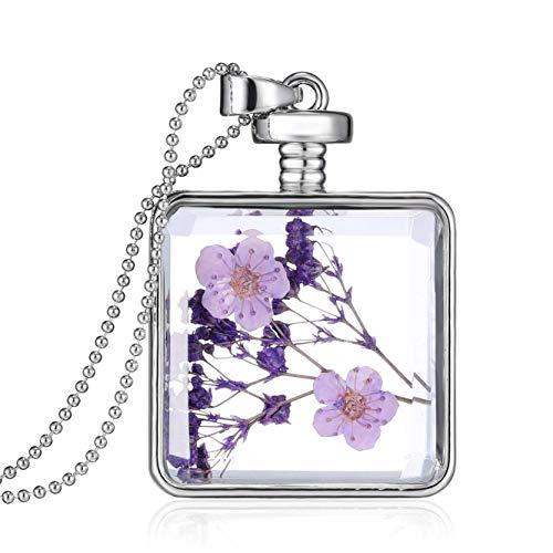 (Unicra Fashion Silver Square Dry Flower Pendant Necklace Flower Inside Locket Bottle Necklace for Women)