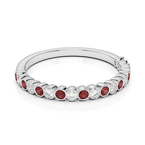 Or blanc 18carats 0,18CT G-H/VS Certifié Coupe ronde Grenat et diamants Agdr-1101