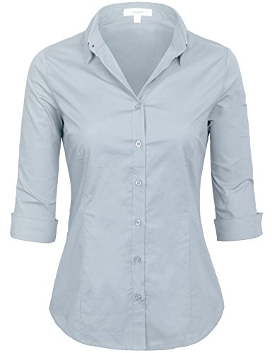(KOGMO Womens Classic Solid 3/4 Sleeve Button Down Blouse Dress Shirt (S-3X)-S-Dusty_Blue)