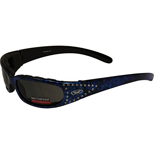 - Global Vision Marilyn 3 Padded Motorcycle Sunglasses Crystal Rhinestone Decorated Blue Frames with Smoke Lens