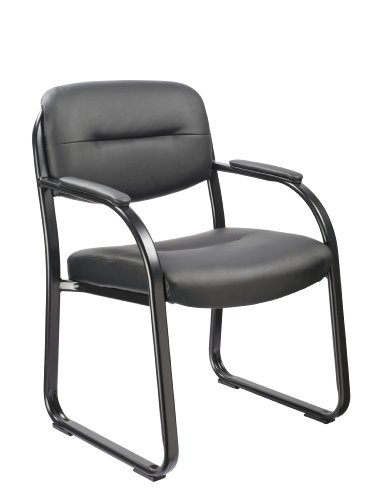 <b>Office Factor Reception Room Executive Style Black Vinyl Guest Chair with Padded Seat, Back, Arms and Sled Base-Comfortable Seating for (Finished Sled Base)