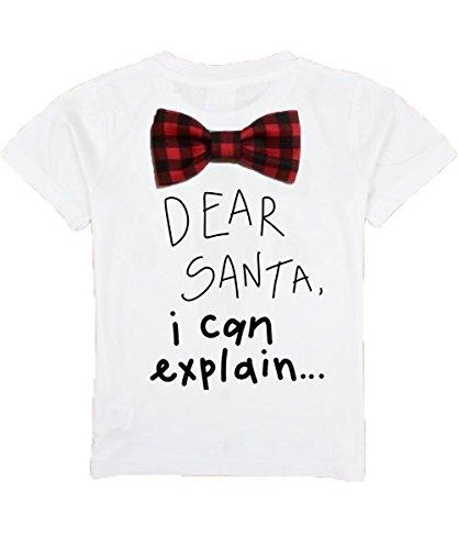 Noah's Boytique Toddler Boy Christmas Outfit Dear Santa I Can Explain Buffalo Plaid Bow Tie Short Sleeve Shirt 2/3T -