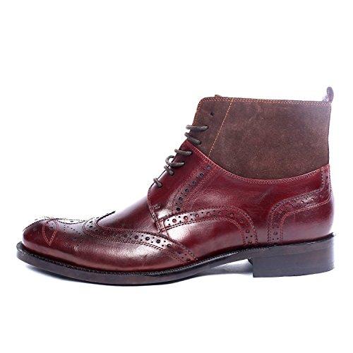Cap Boots Men's Semi Shoes Red Genuine Brogue Toe Santimon Leather Velvet qpw4IIC