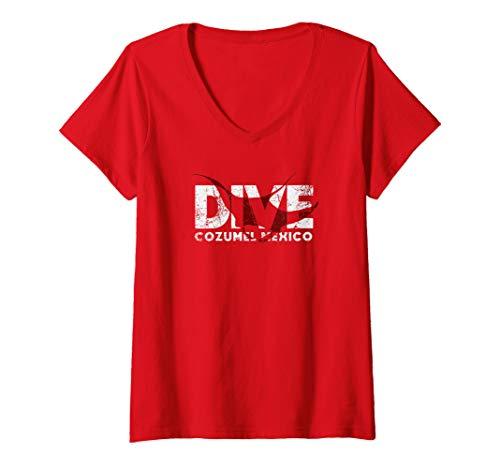 Womens DIVE Cozumel Mexico SCUBA Diver Manta Ray Diving V-Neck T-Shirt