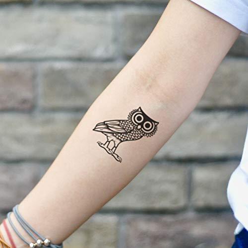 New School Owl Tattoo - Athena Owl Temporary Tattoo Sticker (Set