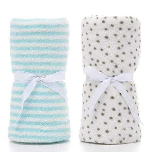 PRIMA 2 Pack Ultra Soft Baby Blankets, Comfortable Coral Fleece Plush Blankets for Infant Toddler, Gifts for Newborn, 30