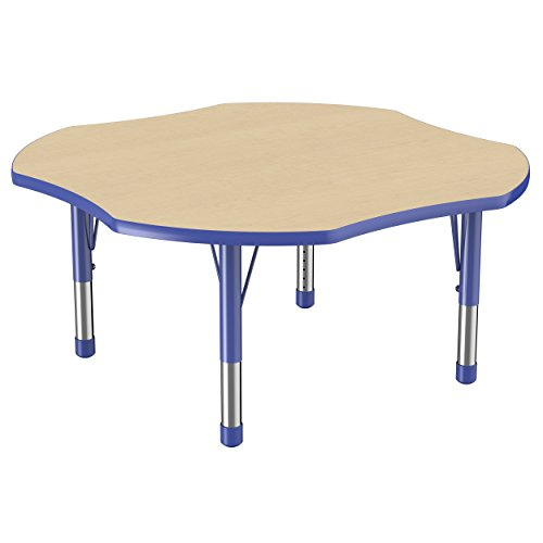 ECR4Kids Everyday 48″ Clover School Activity Table, Chunky Legs, Adjustable Height 15-24 inch (Maple/Blue) For Sale