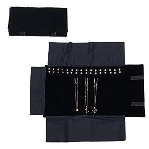 Amazoncom Travel Jewelry Case Black Velvet Roll Bag Jewelry