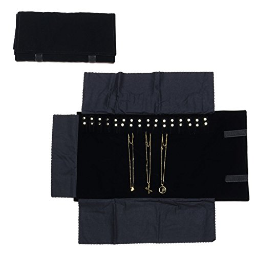 Black Velvet Jewelry Travel Roll - Travel Jewelry Case Black Velvet Roll Bag Jewelry Organizer for Necklaces
