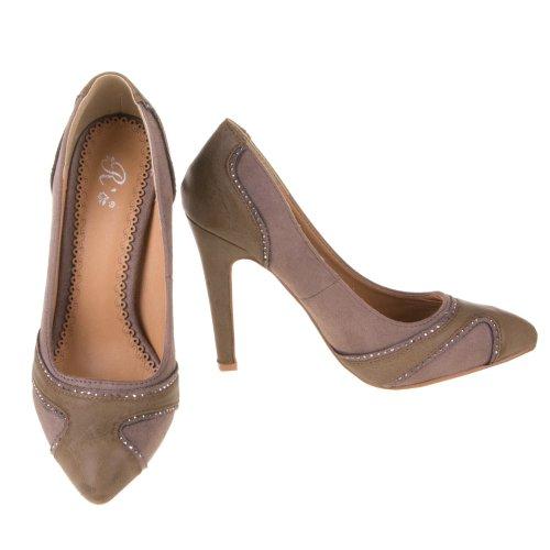 Ital-Design - Pantuflas de caña alta de material sintético mujer Grau Braun