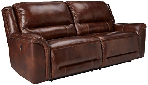 Saddle Reclining Sectional (Ashley Furniture Signature Design - Jayron 2 Seat Recliner Sofa - 1 Touch Powered Reclining - Contemporary - Harness Brown)