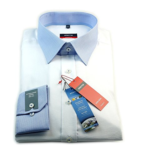 eterna Hemd modern fit Extralange Ärmel weiß mit blau / weiß kariertem Kragen Gr. 39 - 44 / 8141.00.X148.ÄL68