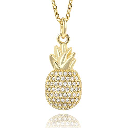COZLANE 14K Gold Pineapple CZ Paved Dainty Small Pendant Necklace Jewelry for Women Girls Kids