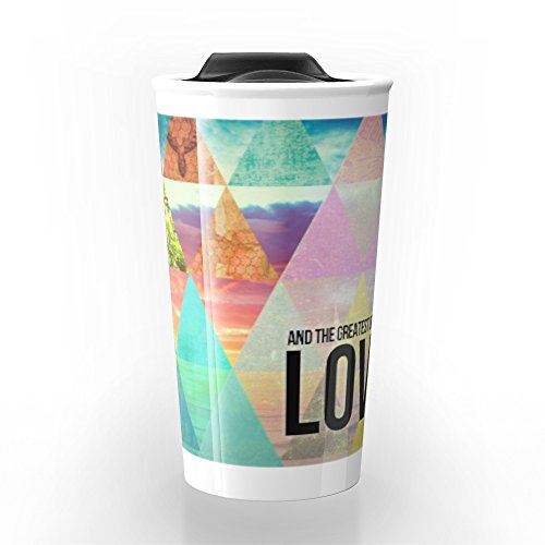 "Society6 1 Corinthians 13:13 ""And The Greatest Of These Is Love"" Travel Mug 12 oz"