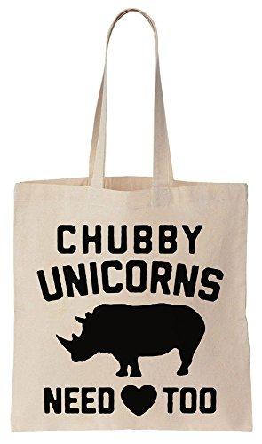 Chubby Unicorns Need Love Too Funny Rhino Design Sacchetto di cotone tela di canapa