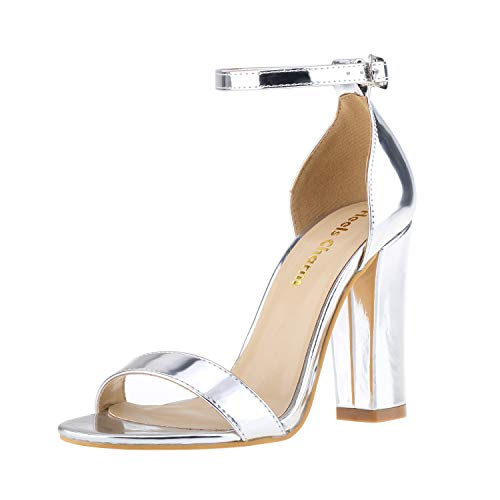 (Women's Strappy Chunky High Heel Ankle Strap Sandals Open Toe Dress Sandal for Wedding Birthday Party Evening Office Shoes Silver Size 6.5)