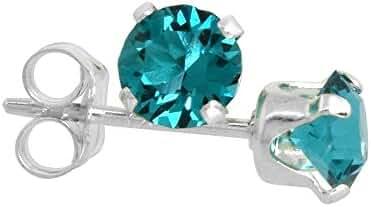 Sterling Silver December Birthstone Stud Earrings Blue Topaz Color Swarovski Crystals 4 mm 1/2 ct total