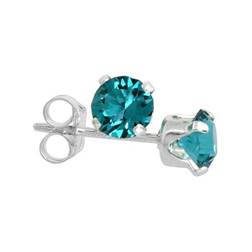 Sterling Silver December Birthstone Stud Earrings Blue Topaz Color Swarovski Crystals 4 mm 1/2