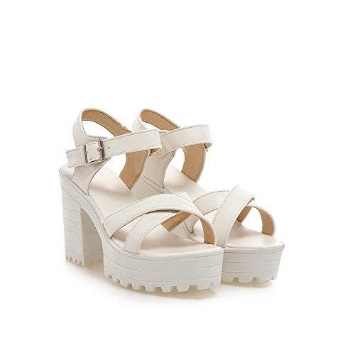 AmoonyFashion Womens Buckle Open-Toe High-Heels Pu Solid Sandals White DDkNvLU