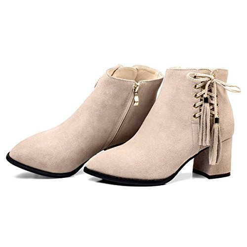 lace Toe Mid Almond Boots Women's Genuine Cow up Heel Leather Ankle Verocara Suede beige C Fringe Chunky and 5gwFqwY