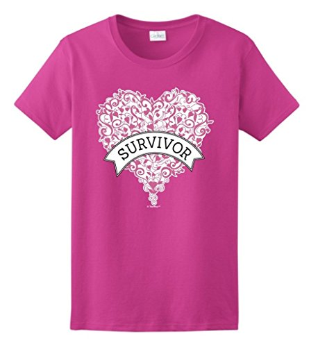 ThisWear Breast Cancer Accessories Breast Cancer Survivor Gift Pink Heart Banner Ladies T-Shirt Medium Hlcna (Pink Breast Ladies)