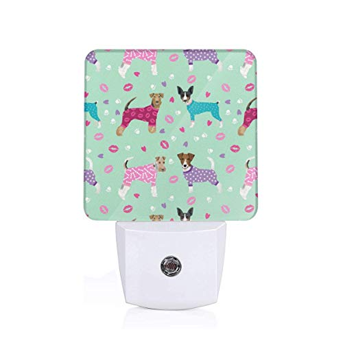 Terriers in Pyjamas Dogs in Clothes Cute Rat Terrier, Jack Russell Terrier, Welsh Terrier, Wire Fox Terrier_660 Plug-in LED Night Light Lamp with Light Sensor, Auto On/Off, Energy Efficient