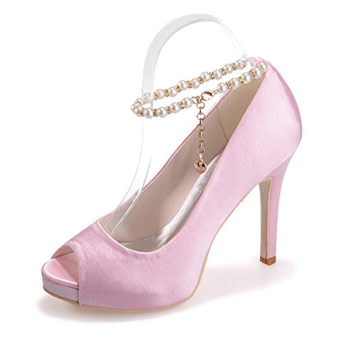 Clearbridal Women's Satin Wedding Bridal Shoes Open Peep Toe Pumps Heels for Prom Evnieng Party with Imitation Pearl ZXF6041-05 Pink LqHxhg3n6