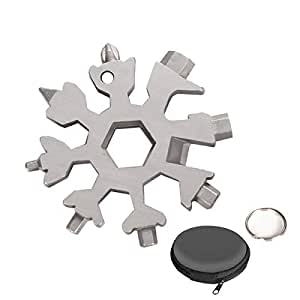 Aitsite Multi herramienta copo de nieve Tarjeta de la herramienta del copo de nieve Destornillador multi-herramienta de acero Llavero Abrebotellas Tarjeta (Plata)