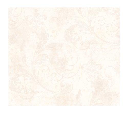 York Wallcoverings WW4492 West Wind Scroll And Script Fleur De Lis Prepasted Wallpaper, White Pearl/Tan
