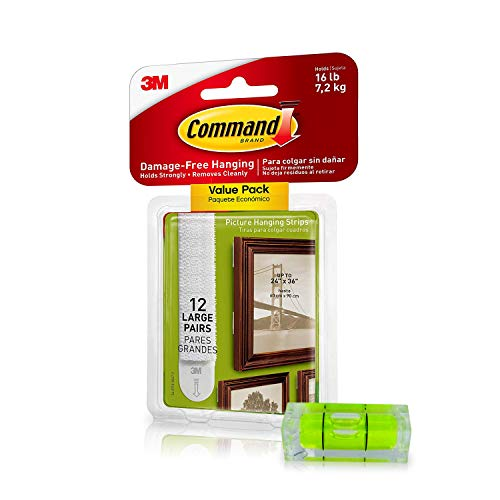Command Picture Hanging Kit| Damage-Free Hanging Strips & Leveler| Perfect for Hanging Small & Large Frames, Photos, Pictures on Walls & More| No Nail/Hook Damage| Easy Hanging (12 Pairs & Level) (Best Way To Strip Wallpaper Off Walls)