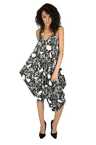 db7ff2ce4cde Oops Outlet Women s Thin Strap Lagenlook Romper Baggy Harem Jumpsuit  Playsuit M L (US